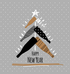 Holiday new year greeting postcard with champagne vector