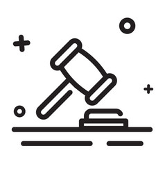 icon gavel legal law judge icon modern outline vector image