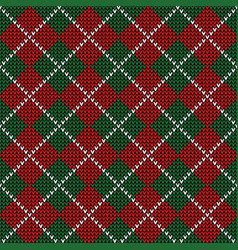Knitted christmas argyle plaid pattern vector