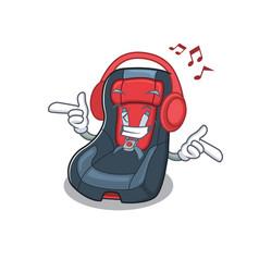 Listening music bacar seat mascot cartoon vector