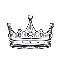 Luxury crown hand drawn vector