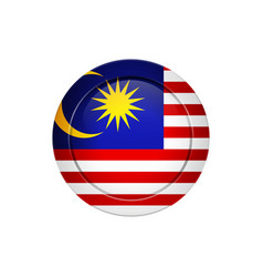 malaysian flag on the round button vector image