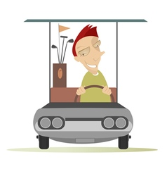 Man in the golf cart vector