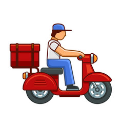 men on bike deliver package icon vector image