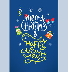 merry christmas greeting card cartoon style flat vector image