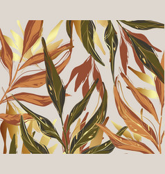 modern palm leaves gold green orange rust foliage vector image