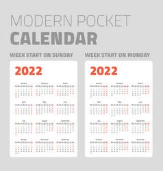 modern pocket calendar set 2022 vector image
