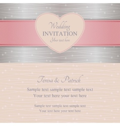 Modern wedding invitation pink and silver vector image