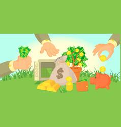 Money types horizontal banner cartoon style vector