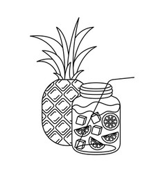 Monochrome silhouette of pineapple and citrus vector