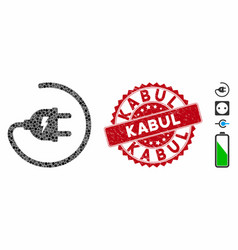 Mosaic electric adapter icon with scratched kabul vector