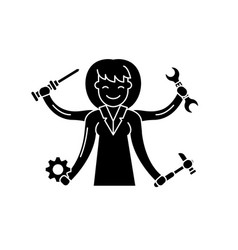 multitasking black icon sign on isolated vector image