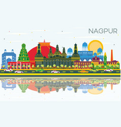 Nagpur india city skyline with color buildings vector