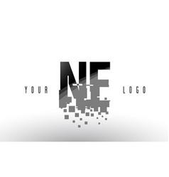 Ne n e pixel letter logo with digital shattered vector