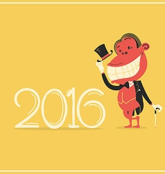 New year card with elegance monkey in gentlemans vector
