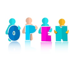 Open Title with Colorful Paper Cut People vector image