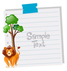 paper template with lion and tree vector image