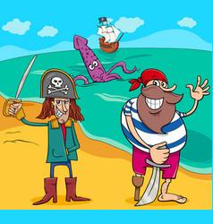 Pirates on island cartoon vector