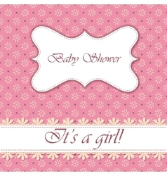 Polka dot flowers baby shower girl vintage vector