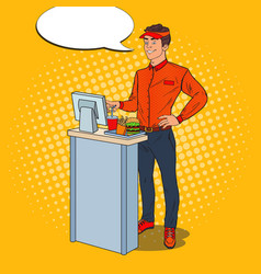 Pop art happy cashier takes the order fast food vector