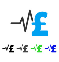 Pound financial pulse flat icon vector