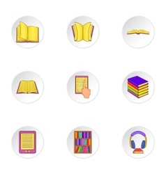 Reading icons set cartoon style vector