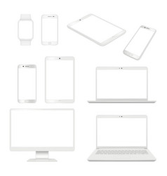 realistic gadgets monitor smartphone laptop vector image