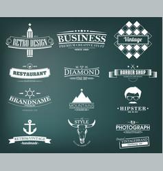 retro vintage insignias or logotypes set design vector image