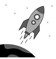 Rocket flies up and enters earth s orbit vector