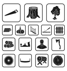 Sawmill and timber black icons in set collection vector