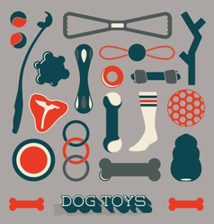 Set dog toy icons and objects vector