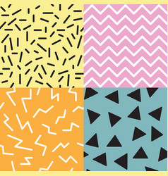 set of 4 seamless memphis patterns trendy and vector image