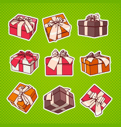 set of colorful gift box pop art retro style vector image