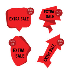 set of four red extra sale stickers with text vector image