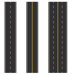 set of seamless road marking on a white isolated vector image