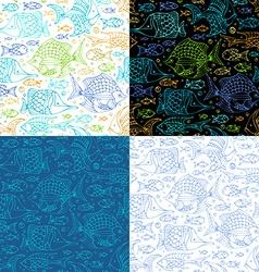 set of seamless sea fish patterns vector image