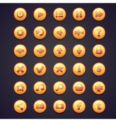 Set yellow round buttons for user interface vector