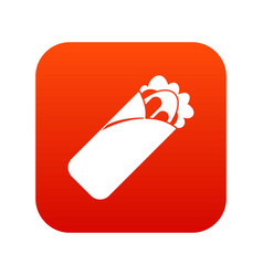 Shawarma sandwich icon digital red vector