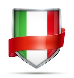 Shield with flag italy and ribbon vector