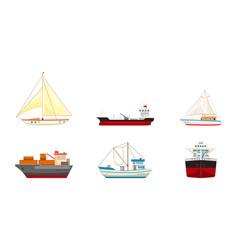 Ship icon set cartoon style vector