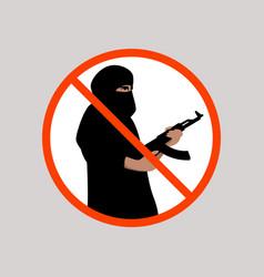 Sign no terrorism flat vector