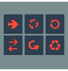Simple red stamp flat arrow icons set Web elements vector