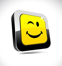 Smiley 3d square button vector