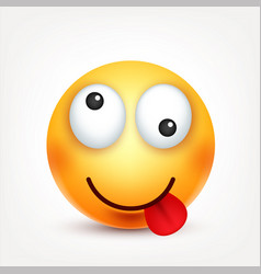 Smiley with tonguesmiling emoticon yellow face vector