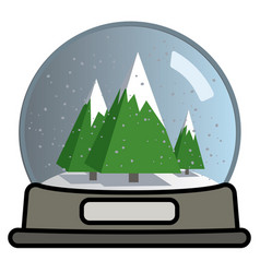 Snow globe with three christmas trees vector
