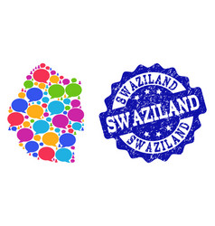 Social network map of swaziland with talk clouds vector