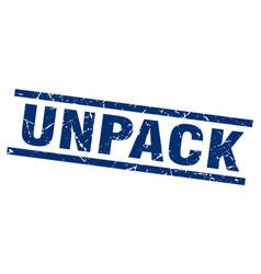 Square grunge blue unpack stamp vector