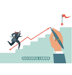 Stair to goal path to success business career vector