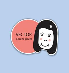 sticker label with cute girl cartoon illust vector image