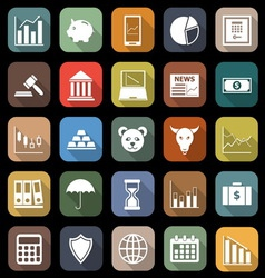 Stock market flat icons with long shadow vector